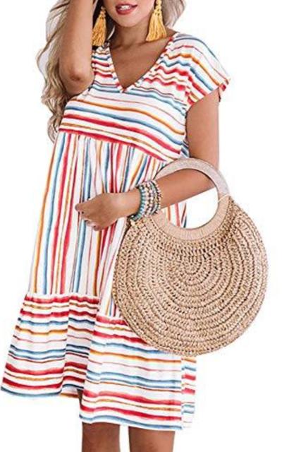 ETCYY Rainbow Striped Printed Beach Dress