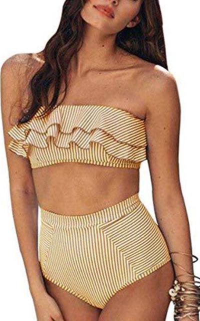 Misassy Flounce Bandeau Bikini