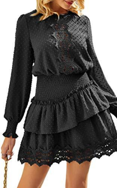 Miessial Chiffon Lace Mini Dress