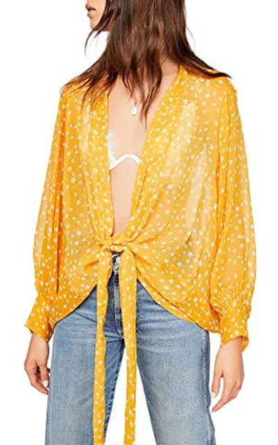 Star Print Beach Open Cover Up Top