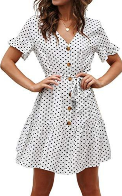 DENNICCI Button Down Polka Dot Dress