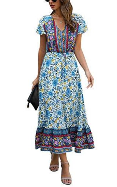 Temofon Floral Print Button Up Beach Maxi Dress