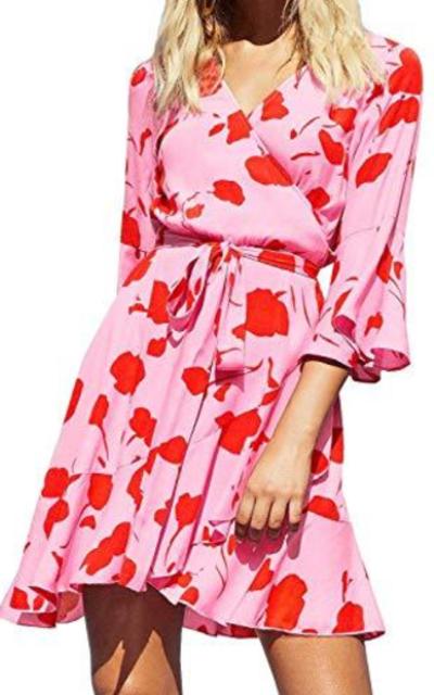 FANCYINN Floral Wrap Short Dress