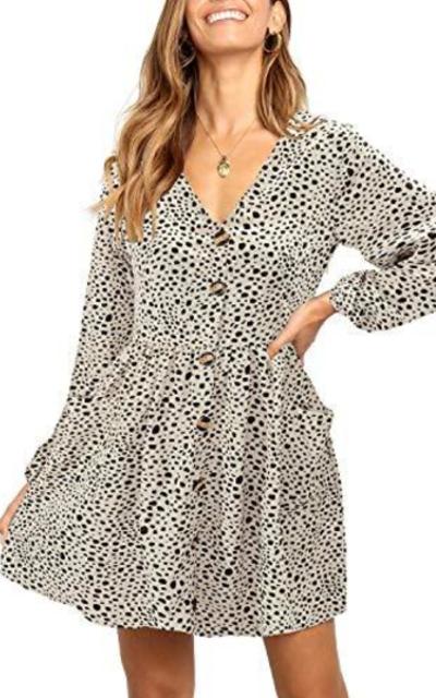 Button Down Babydoll Mini Dress