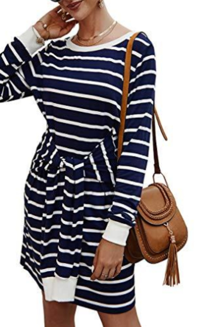 KIRUNDO Striped Tie Waist Midi Dress