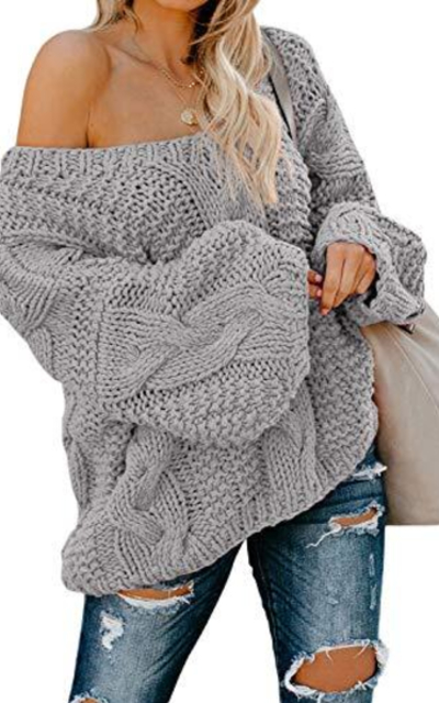 Astylish Chunky Off Shoulder Oversize Knitted Sweater