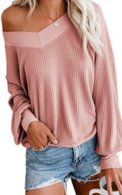 Century Star Waffle Knit Off Shoulder Top