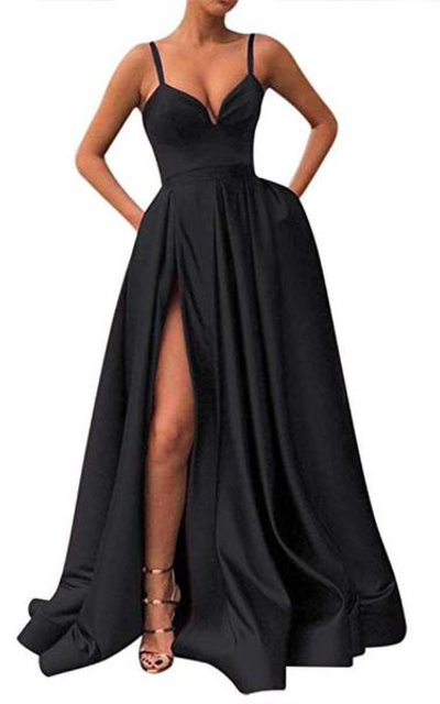 Fanciest Spaghetti Straps Slit Satin Evening Dress