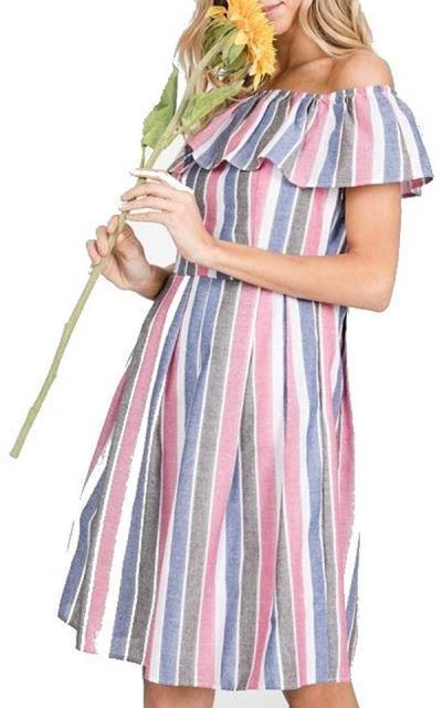 THFB  Ruffle Off Shoulder Dress