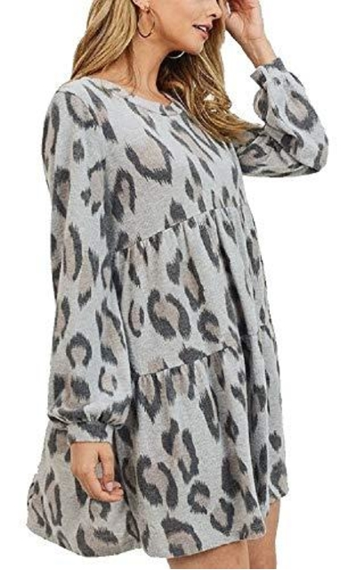 RBBK Super Soft Brushed Knit Cheetah Print Tiered Baby Doll Dress