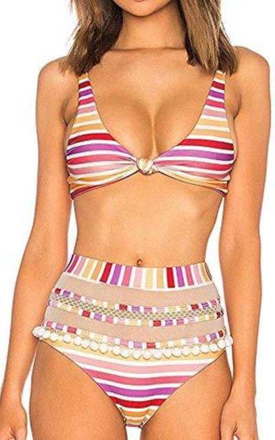 Coskaka Mesh Striped High Waist Bikini Set