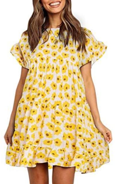 Chuanqi Boho Floral Printed Babydoll Dress