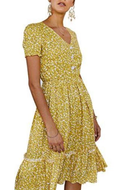 Ruffle Swing A Line Dress