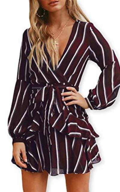 AOOKSMERY Ruffles V-Neck Short Dress with Belt
