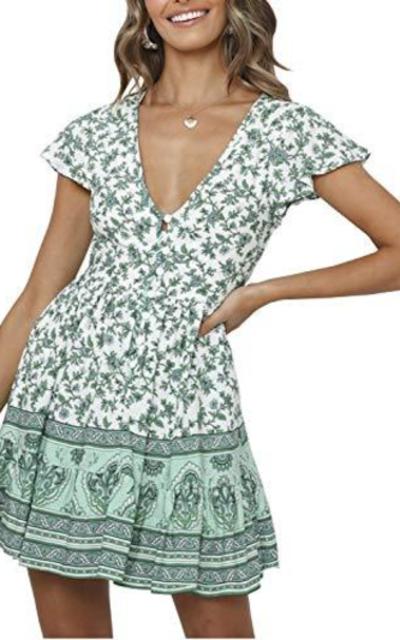MsLure Boho Floral Mini Dress