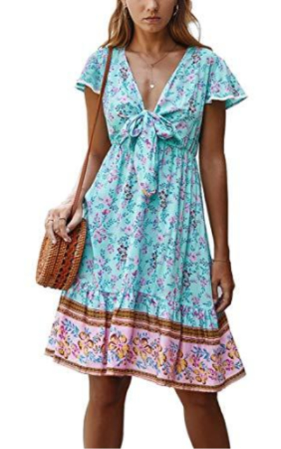 Boho Floral Ruffle Dress