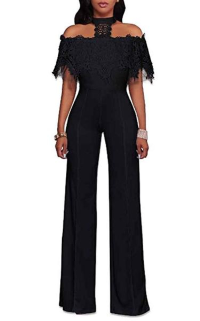 HELIDA Off Shoulder Lace Halter Wide Leg Jumpsuit