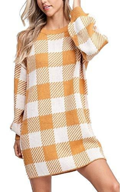 Buffalo Plaid Soft Tunic Sweater Dress