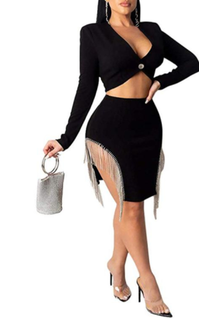 Nhicdns Fringe Party Slit Dress