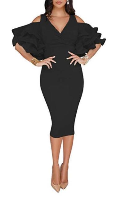 VERWIN Cold Shoulder Midi Dress