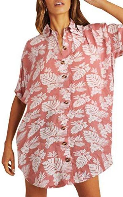 MOLFROA Leaf Print Casual Button Down Shirt Dress