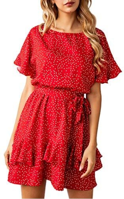 ECOWISH Polka Dot Mini Dress
