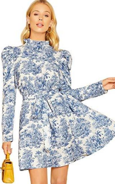 Floerns  Puff Sleeve Stand Collar Print Dress