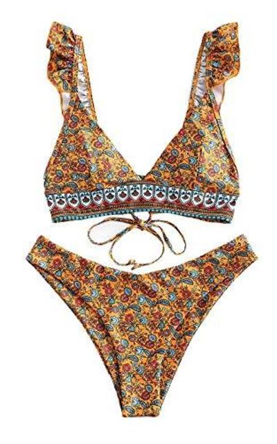 ZAFUL Flower Ruffle Lace Up Bikini Swimwear Bathing Suits