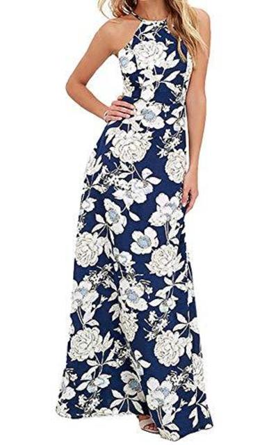 HOOYON Halter Neck Floral Maxi Dress