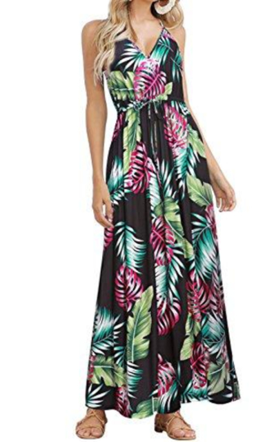 HUSKARY Tropical Summer Maxi Dress