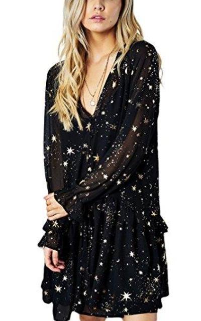 missomo Shimmer Ruffle Stars Print Dress