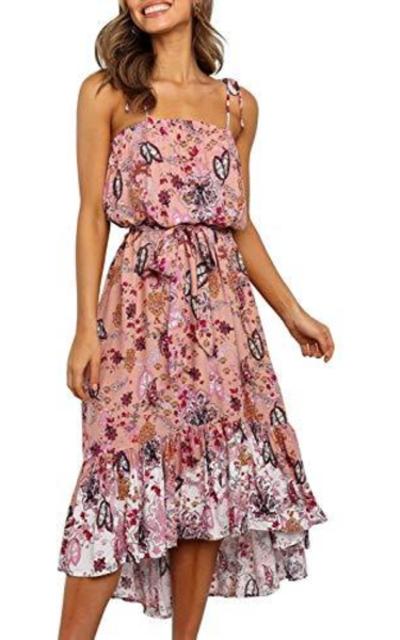 MITILLY Boho Floral Print Spaghetti Dress