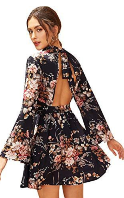 SOLY HUX Backless Floral Print Bow Tie Back Dress