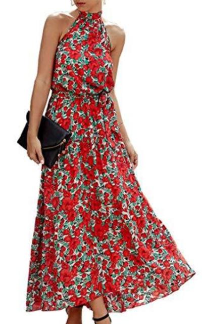 Comeon Floral Print Halter Neck Dress