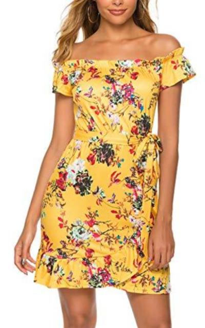 Sweetnight Floral Ruffle Hem Short Dress