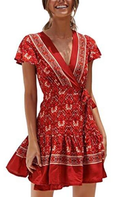 TOTOD Boho Floral Print Dress