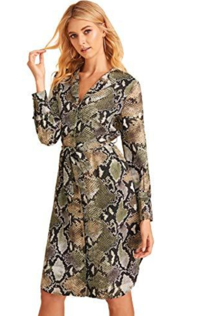 Verdusa  Snakeskin Print Button Up Dress