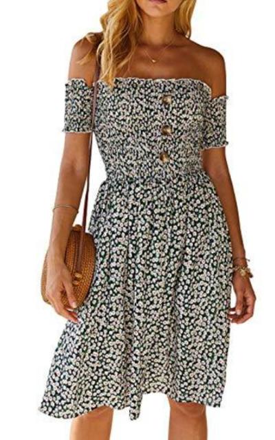 MissyLife Floral Print Off Shoulder Midi Dress