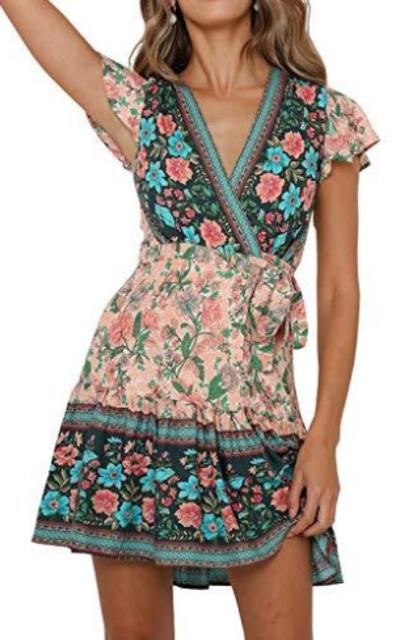 R.Vivimos Bohemian Ruffle Floral  Dress