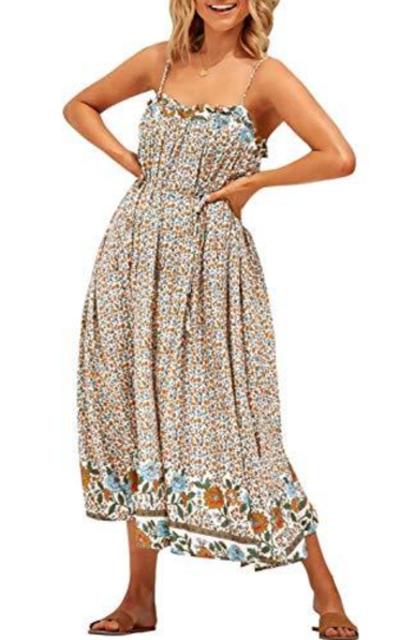 ZESICA Bohemian Floral Printed Midi Dress