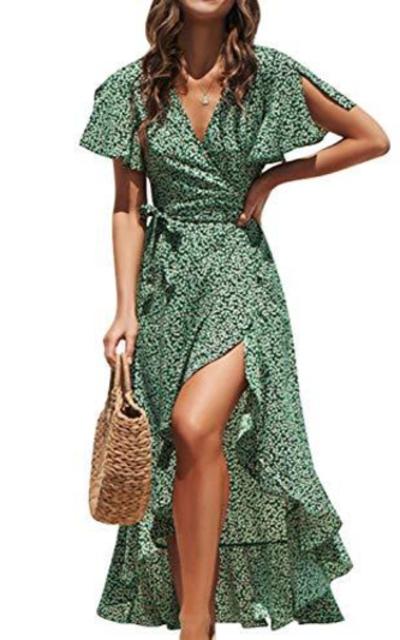 BerryGo Boho Ruffle Floral Wrap Maxi Dress