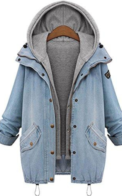 QZUnique Slim Fit Hooded Cotton Denim Vest Jacket