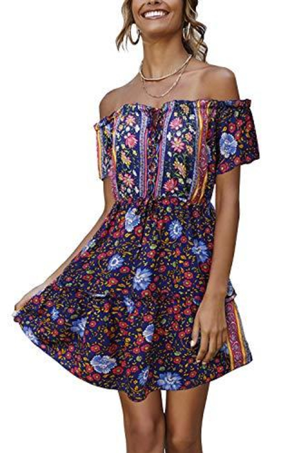 ABYOXI Off The Shoulder Floral Mini Dress
