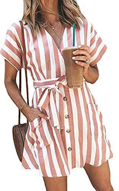 TOPUSH Stripe V Neck Short Sleeve Mini Dress