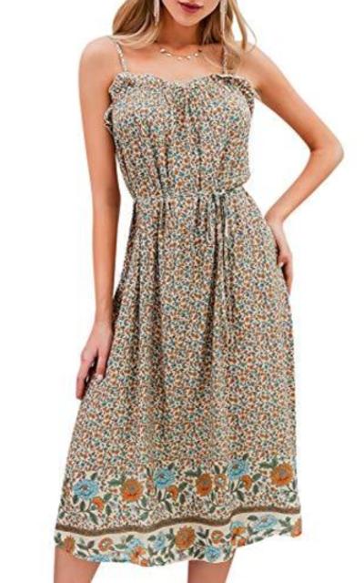 BerryGo Boho Floral Backless Dress