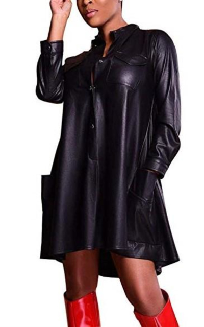 JUNBOON Faux Leather Loose Shirt Dress