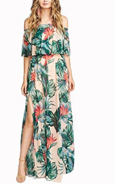 VERO VIVA Tropical Print Maxi Dress