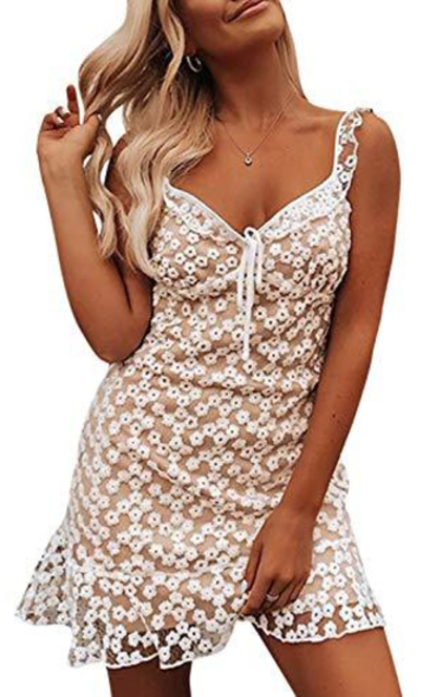 BerryGo Elegant V Neck Floral Lace Ruffle Dress
