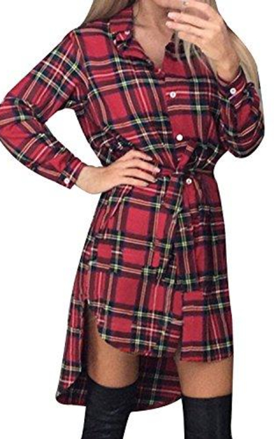 StyleDome Check Plaid Asymmetric Shirt Dress