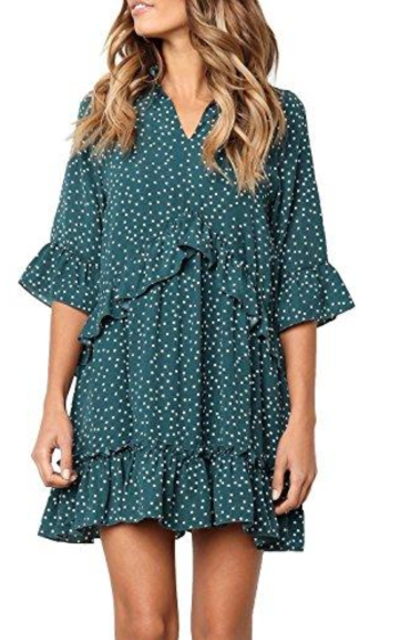 MITILLY Ruffle Polka Dot T-Shirt Dress
